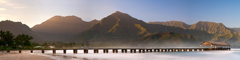 feinberg,hanalei,hanalei bay,hanalei pier,panorama,sunrise, photo
