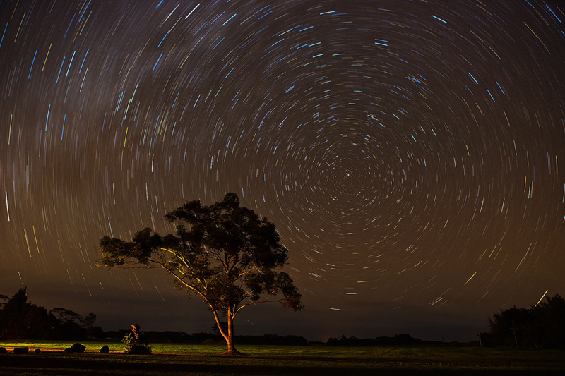 18 mintues of exposure show the movement of the stars across the night sky, or rather the rotation of the earth. A mixture of...