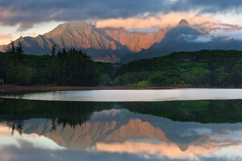feinberg,horizontal,kauai,reflection,sunrise,waialeale,wailua, photo