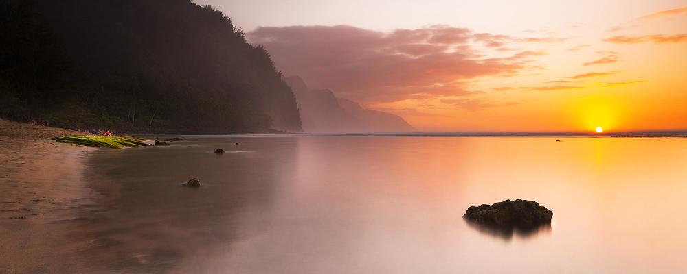 feinberg, kauai, ke'e, panorama, solitude, sunset, seascape, beach, na pali, , photo