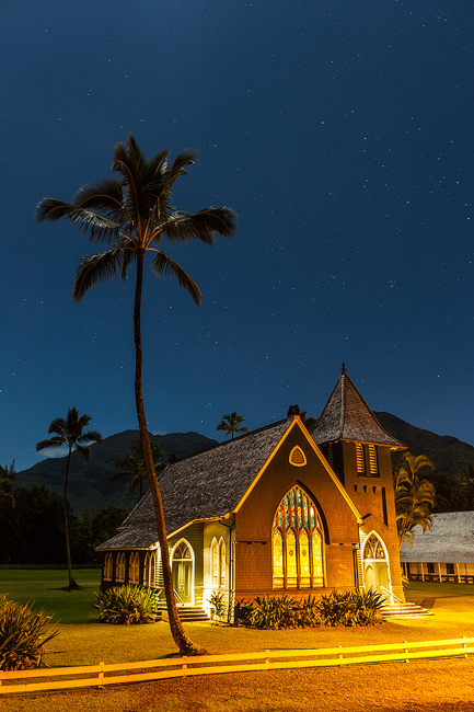 hanalei, kauai, hawaii, moonlight, church, waioli, palm tree, stars, nightscape, photo