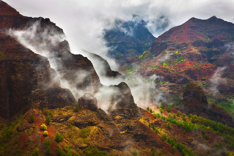 dramatic,feinberg,horizontal,kauai,rain,storm,waimea canyon, photo