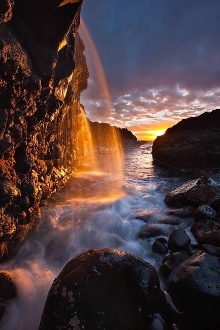 feinberg,kauai,orange,sunset,vertical,waterfall, photo