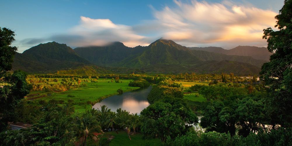 feinberg,hanalei valley,kauai,mountains,panorama,river,sunset, photo