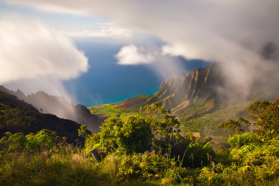 feinberg, green, hawaii, horizontal, kalalau, kauai, long exposure, clouds, , photo
