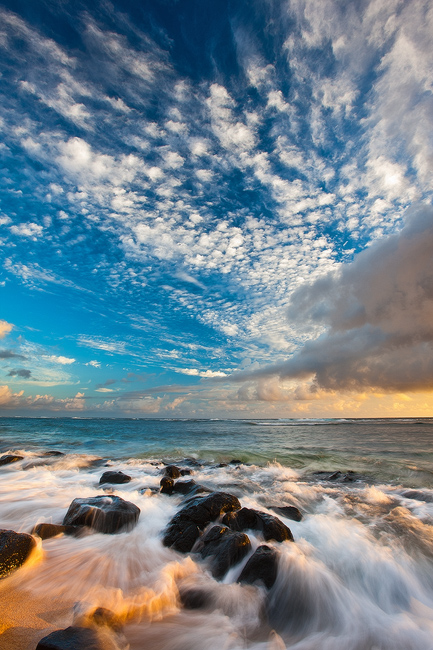 beach,feinberg,hawaii,kauai,larsens,seascape,sunrise,vertical, photo