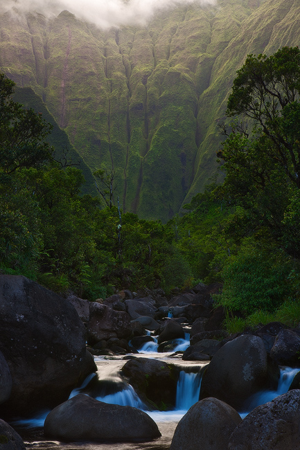 feinberg,glow,green,river,vertical,waialeale,wailua river,waterfall, photo