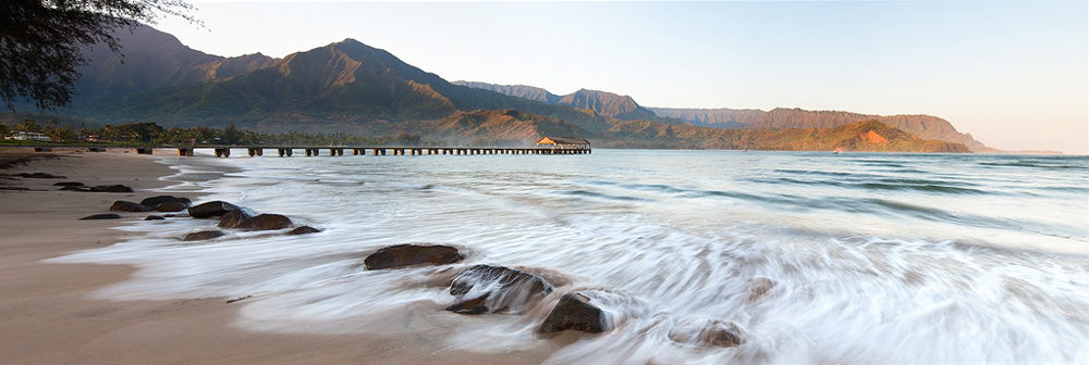 feinberg,hanalei,horizontal,kauai,panorama,pier,seascape, photo