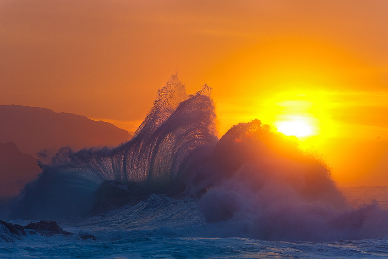 feinberg,horizontal,ke'e,na pali,splash,sunset,wave