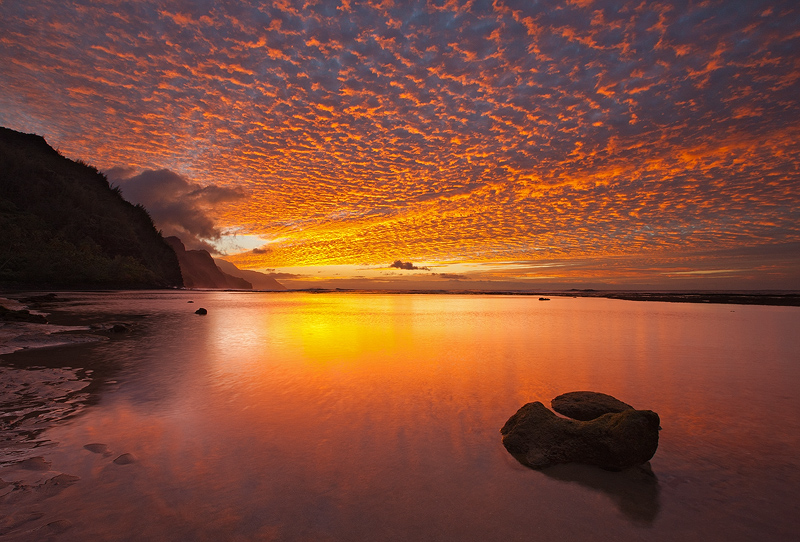 clouds,feinberg,hawaii,horizontal,kauai,ke'e,sunset, photo