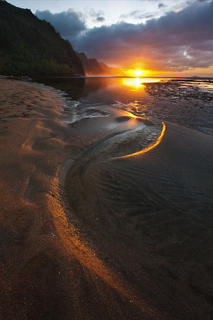 beach,feinberg,ke'e,seascape,sunset,sunstar,vertical, photo