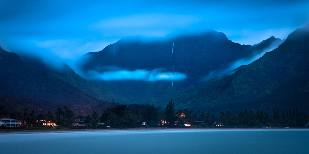 blue,feinberg,hanalei,horizontal,panorama,pier,waterfall, photo