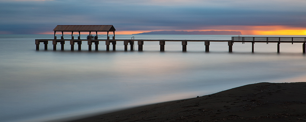 feinberg,ni'ihau,panorama,pier,sunset,waimea, photo