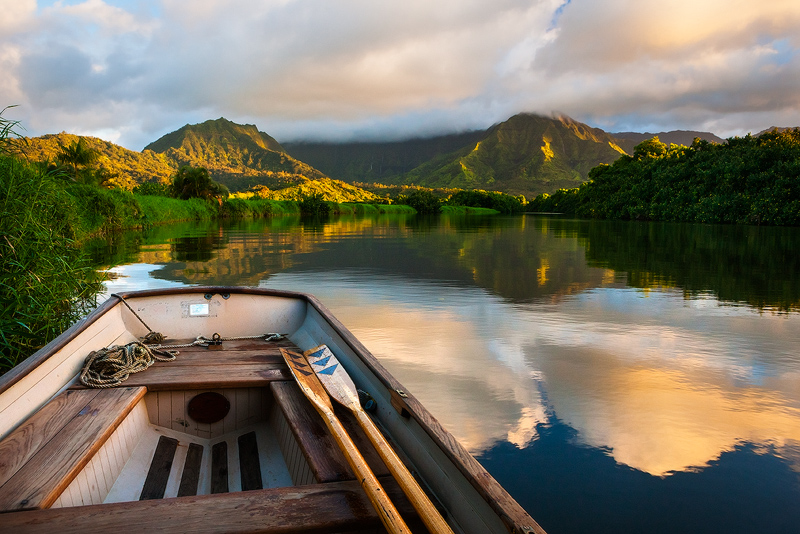 boat,feinberg,hanalei river,hawaii,horizontal,reflection,sunset, photo