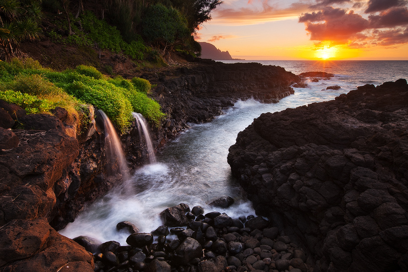 bali hai,feinberg,hawaii,horizontal,princeville,seascape,sunset,waterfall