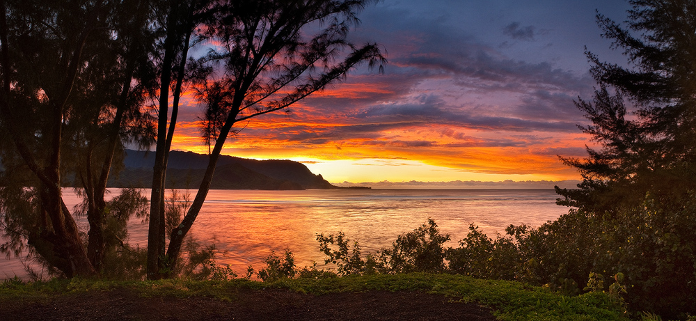 bali hai,feinberg,hanalei bay,kauai,orange,panorama,princeville,sunset, photo