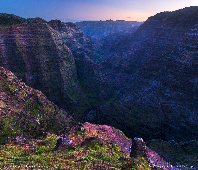 feinberg, waimea canyon, kauai, hawaii, horizontal, kokee, purple, blue, twilight, photo
