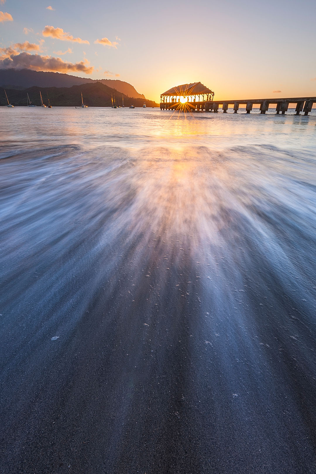 feinberg, vertical, hanalei, pier, kauai, hawaii, sunset, photo