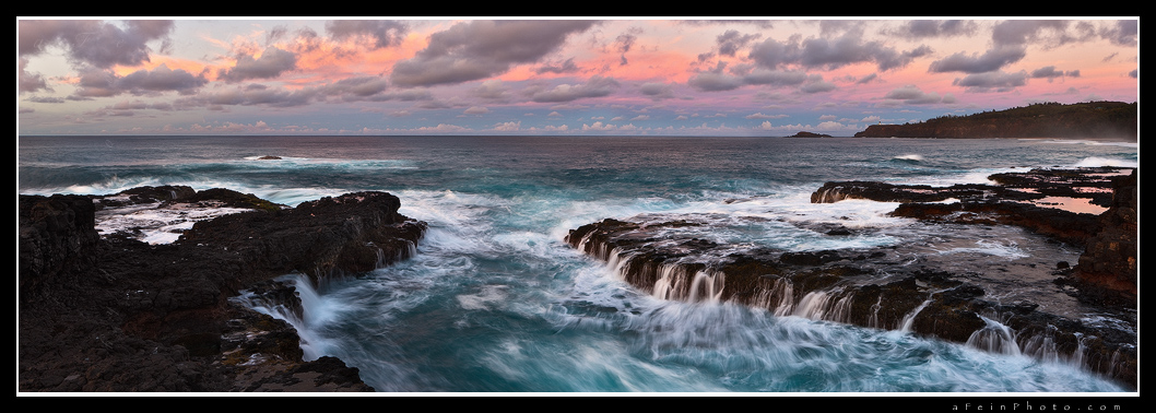 feinberg, secrets, beach, kilauea, lighthouse, panorama, panoramic, horizontal, kauai, hawaii, sunset, twilight, secrets beach, photo