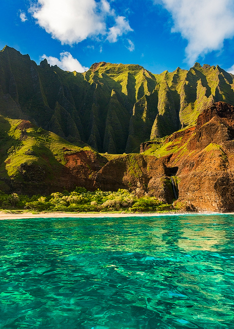 feinberg, kalalau, vertical, na pali coast, turquoise, blue, morning, , photo
