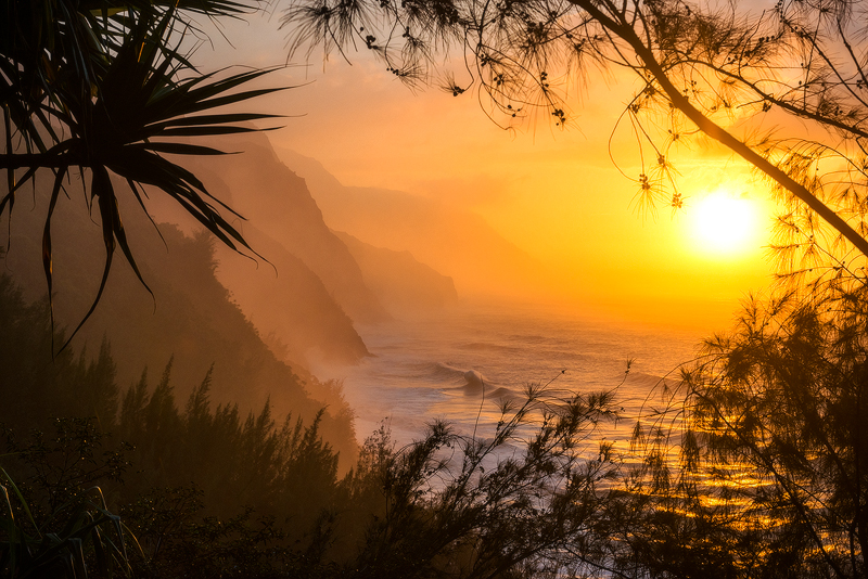 feinberg, na pali coast, kauai, hawaii, sunset, silhouette, palm, mist, ehu kai, , photo