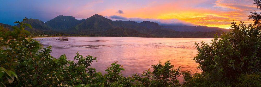 feinberg,hanalei bay,kauai,panorama,sunset, princeville, north shore, , photo