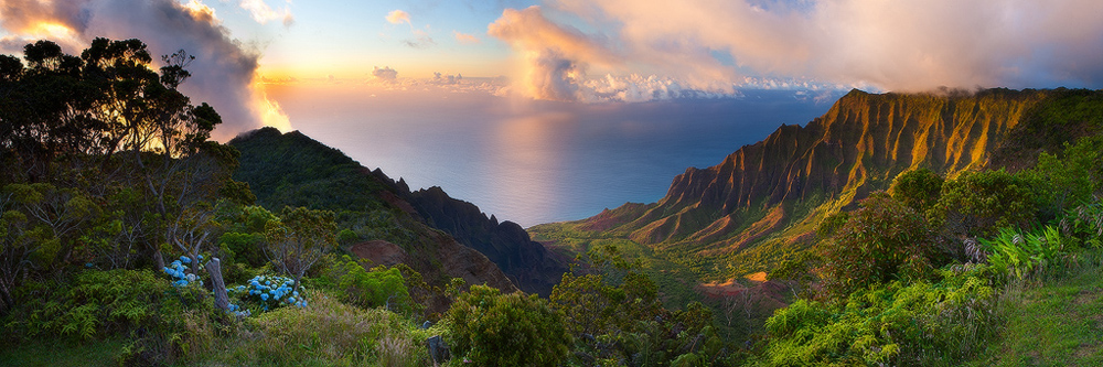 feinberg,hawaii,kalalau,kauai,panorama,sunset, photo