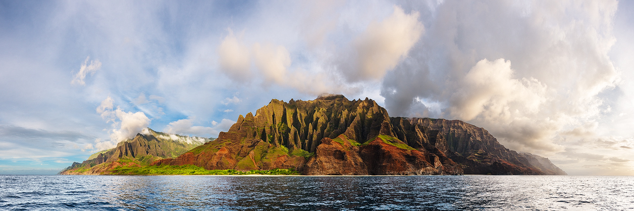 The incredible Na Pali Coast as seen from just off shore. To read the story of how this was captured from the back of a jet ski...