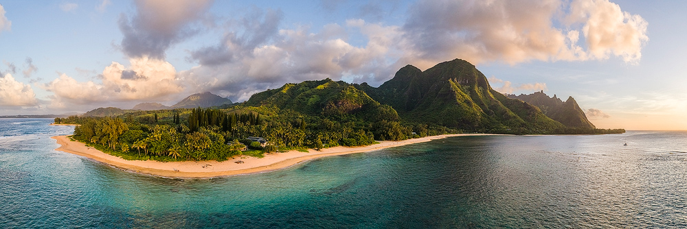 Aaron Feinberg, aerial, drone, panorama, panoramic, horizontal, kauai, tunnels, makua, beach, makana, bali hai, north shore, sunset, photo