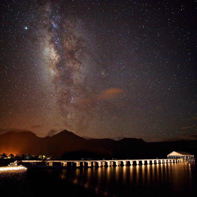 feinberg,hanalei,kauai,milky way,night,pier,square,stars, photo