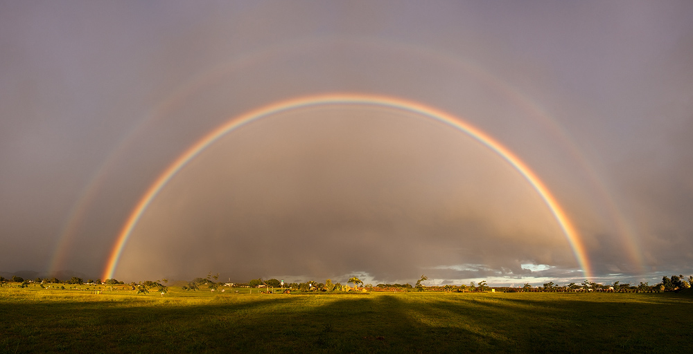 double rainbow,feinberg,kauai,panorama,poipu estates,rainbow, photo