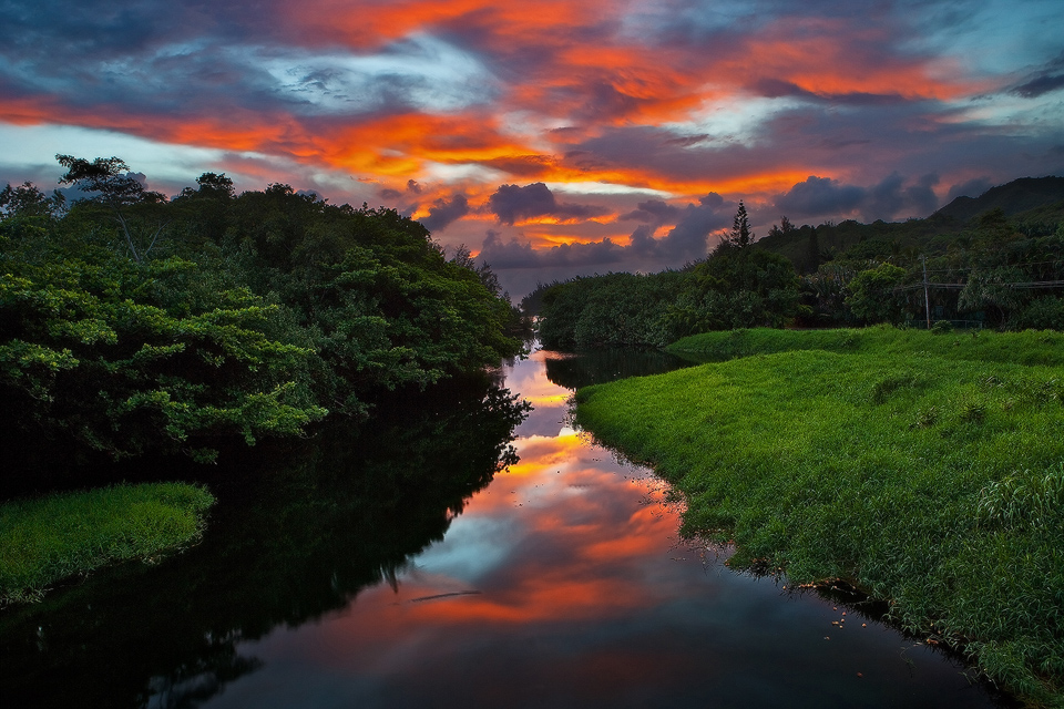 sunrise, wainiha, river, reflection, double bridges, kauai, hawaii, horizontal, photo