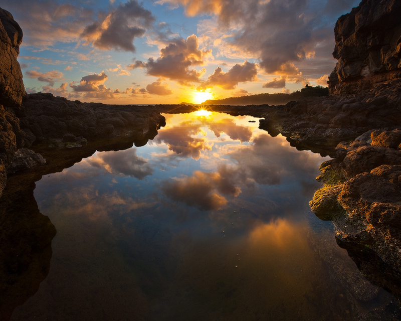 4x5,feinberg,horizontal,kauai,kilauea lighthouse,reflection,secrets,sunrise, secrets beach, photo