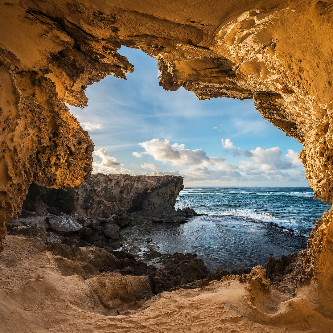 feinberg, cave, square, poipu, kauai, hawaii, sunrise, blue sky, photo