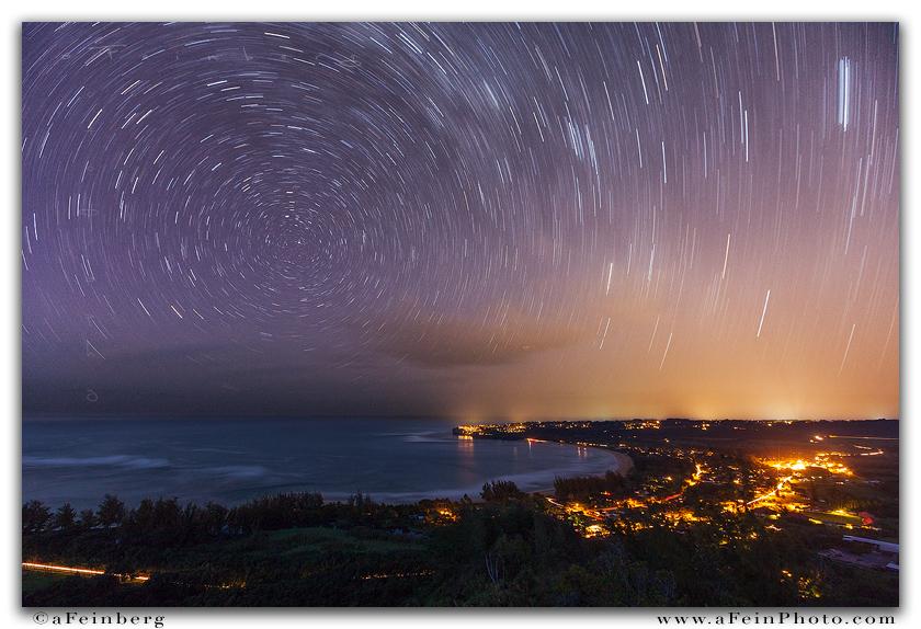 hanalei, star trails, kauai, hawaii, nightscape, horizontal, stars, , photo