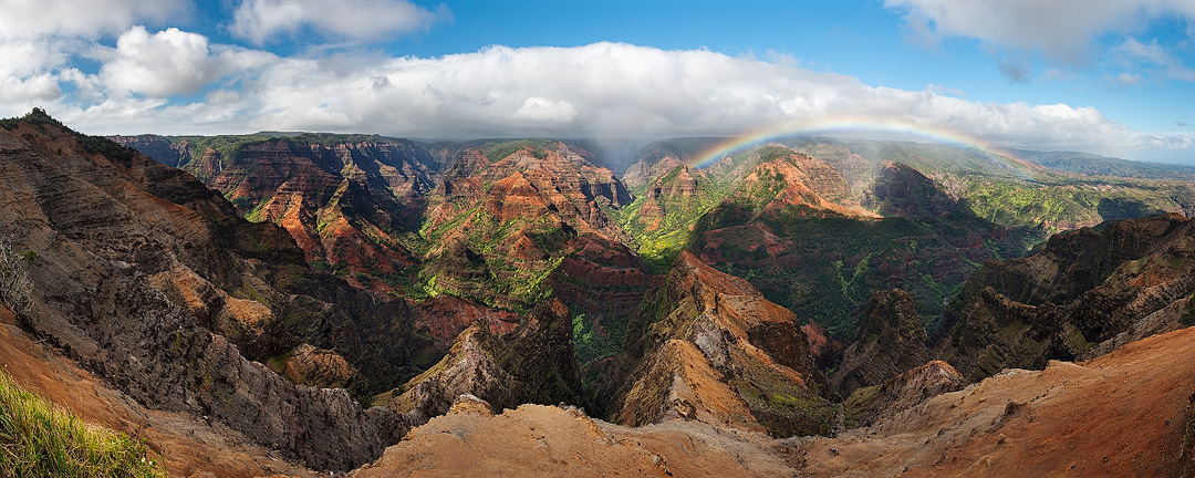 feinberg, kauai, hawaii, waimea canyon, rainbow, panorama, horizontal, photo