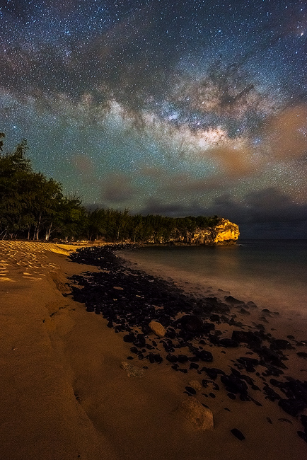 Aaron Feinberg, kauai, milky way, nightscape, poipu, seascape, shipwrecks, stars, vertical, , photo